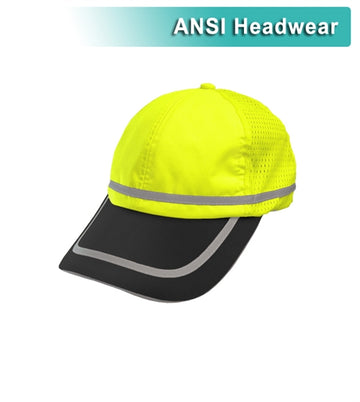 Safety Baseball Hat: Hi Vis Cap: Adjustable Cotton Sweatband