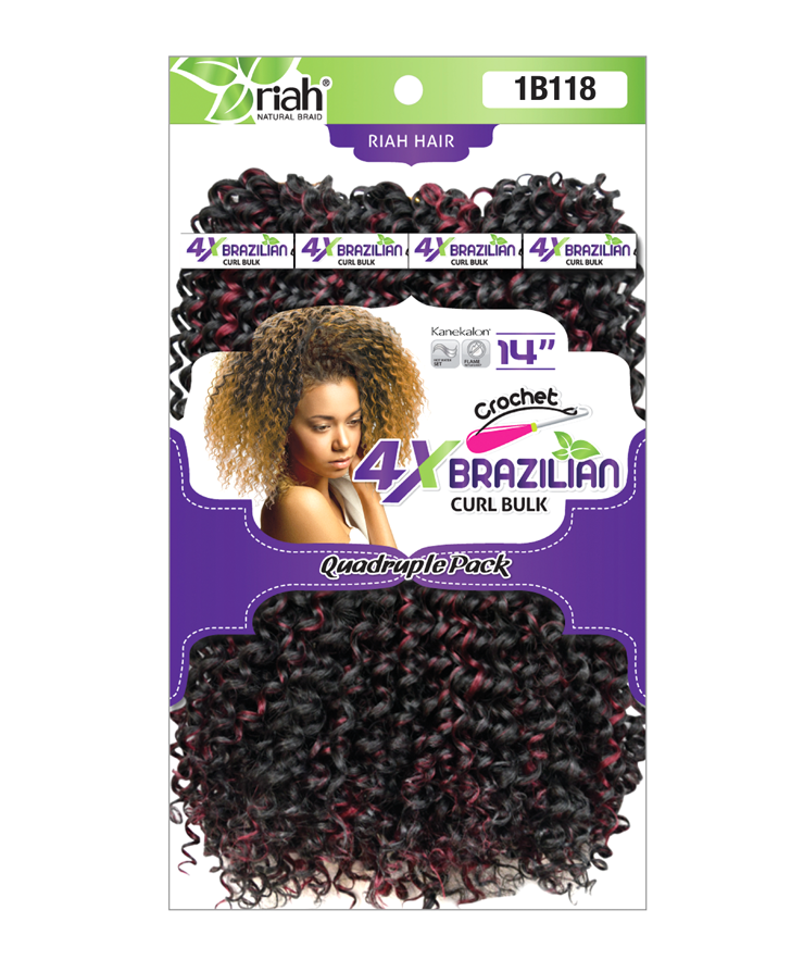 Riah Crochet Brazilian Curl Bulk Quadruple 4 Pack Synthetic hair 14 inch
