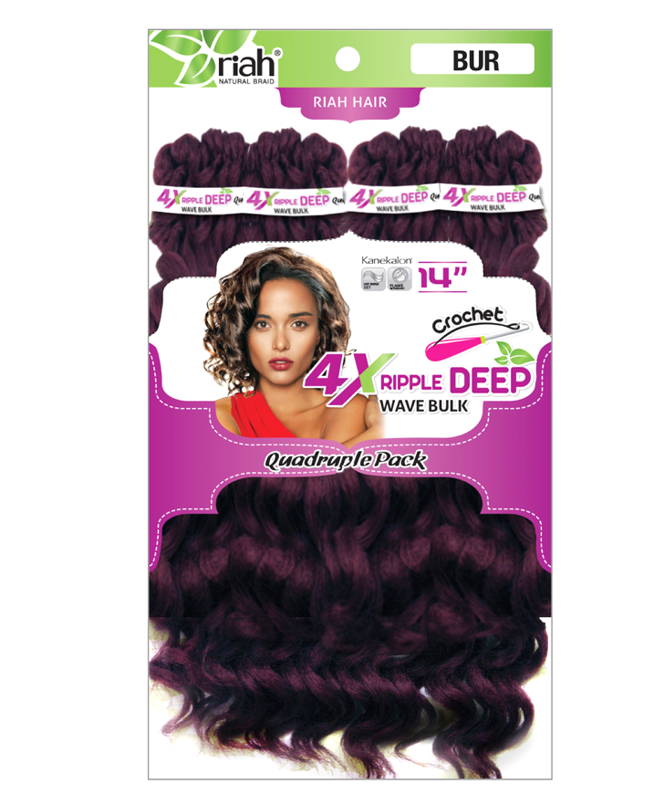 Riah Crochet Ripple Deep Bulk Quadruple 4 Pack Synthetic hair 14 inch