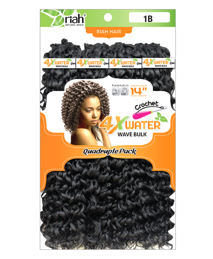 Riah Crochet Water Wave Bulk Quadruple 4 Pack Synthetic hair 14 inch