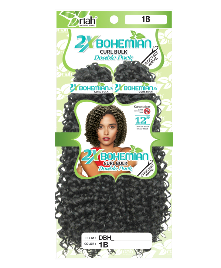 Riah Crochet Bohemian Curl Bulk Double 2 Pack Synthetic hair 12 inch