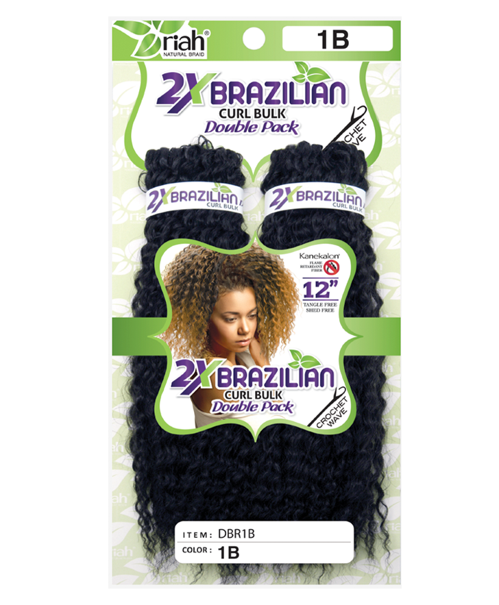 Riah Crochet Brazilian Curl Bulk Double 2 Pack Synthetic hair 12 inch
