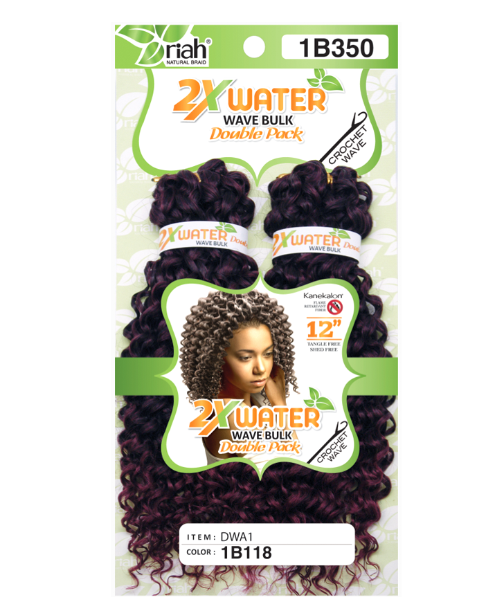Riah Crochet Water Wave Bulk Double 2 Pack Synthetic hair 12 inch