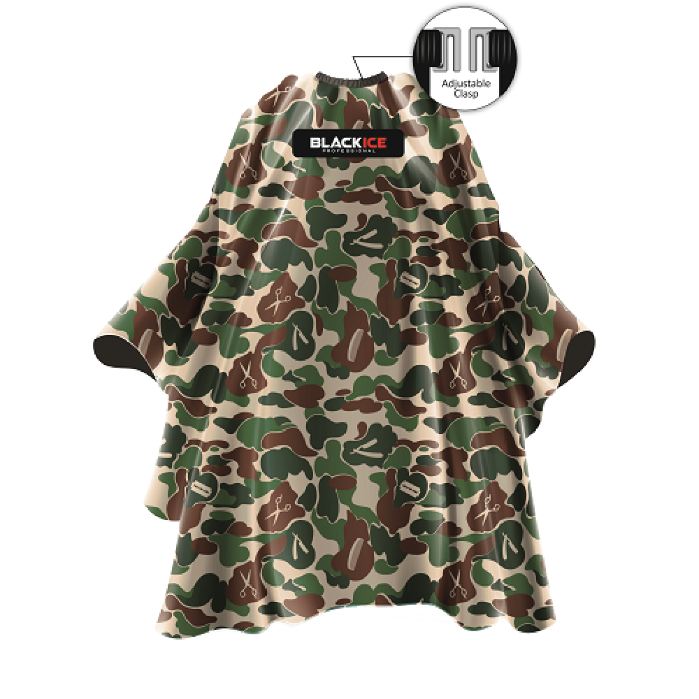 "Black Ice Camo Barber Cape Black 59""x 55"""
