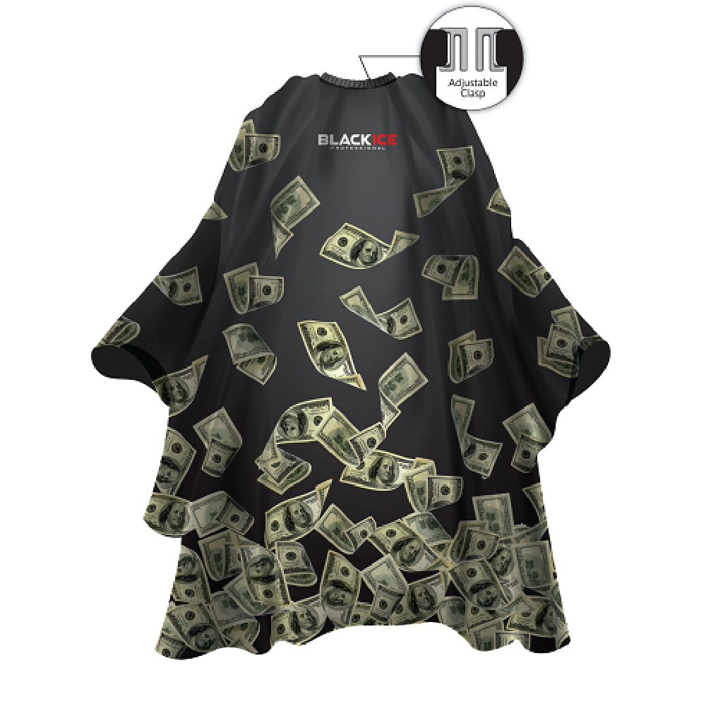 "Black Ice Money Shower Barber Cape 59""x 55"""