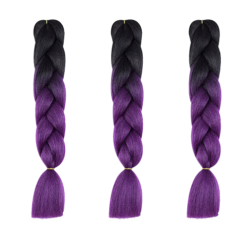 Black to Purple Kanekalon Ombre Synthetic Braid Hair (24-inch, Single Pack)