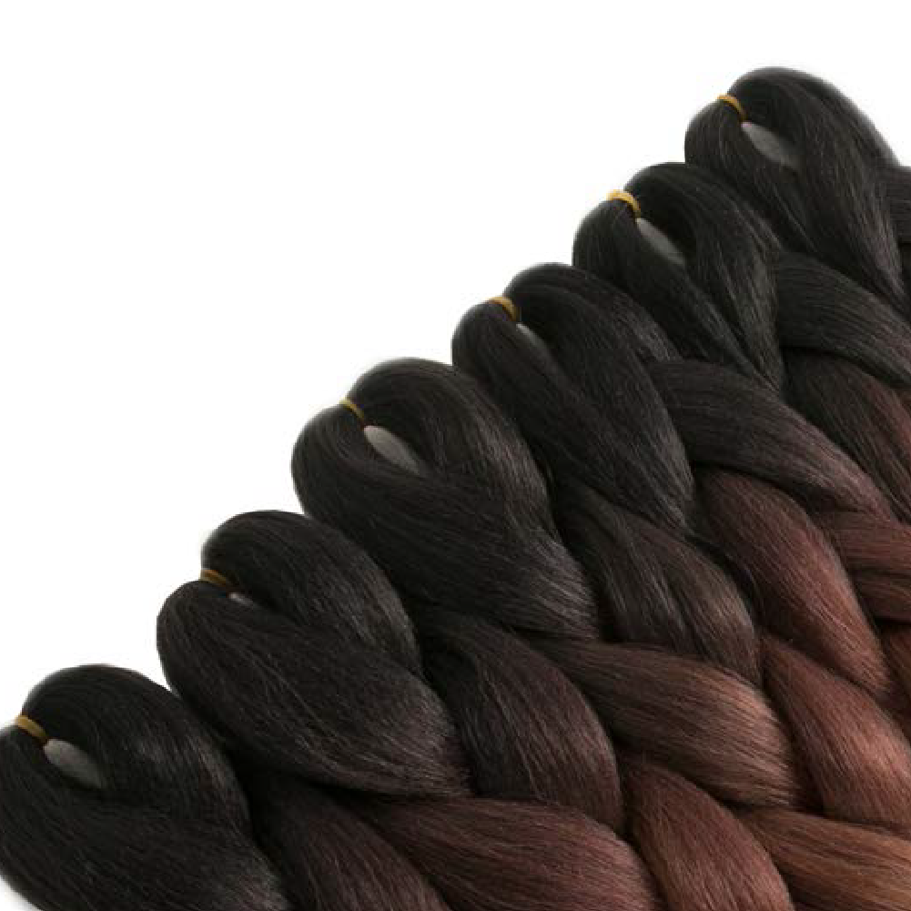 Black to Honey Brown Kanekalon Ombre Synthetic Braid Hair (24-inch, Single Pack)