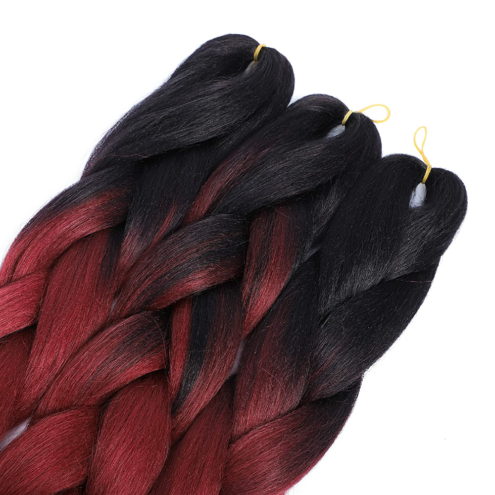 Black to Red Kanekalon Ombre Synthetic Braid Hair (24-inch, Single Pack)