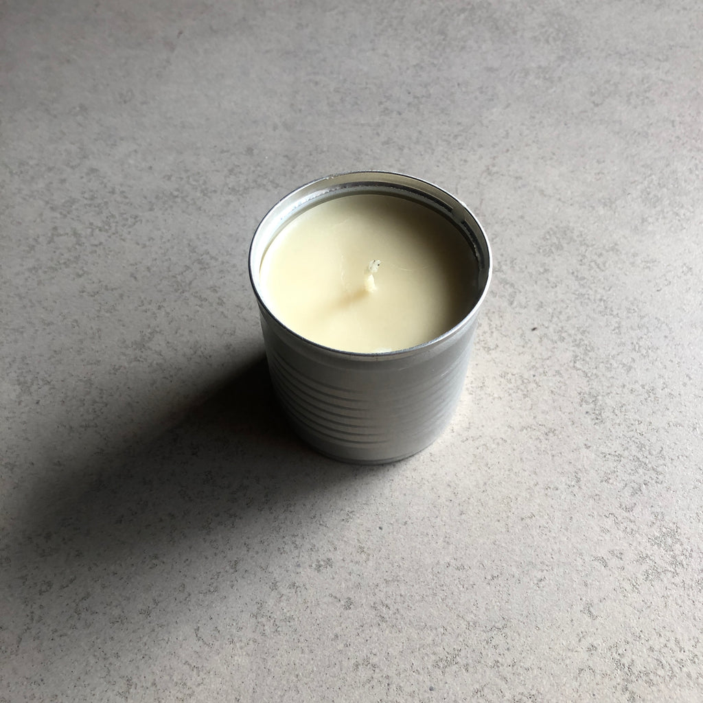 Mt. Pinatubo Beeswax Candle: Lit