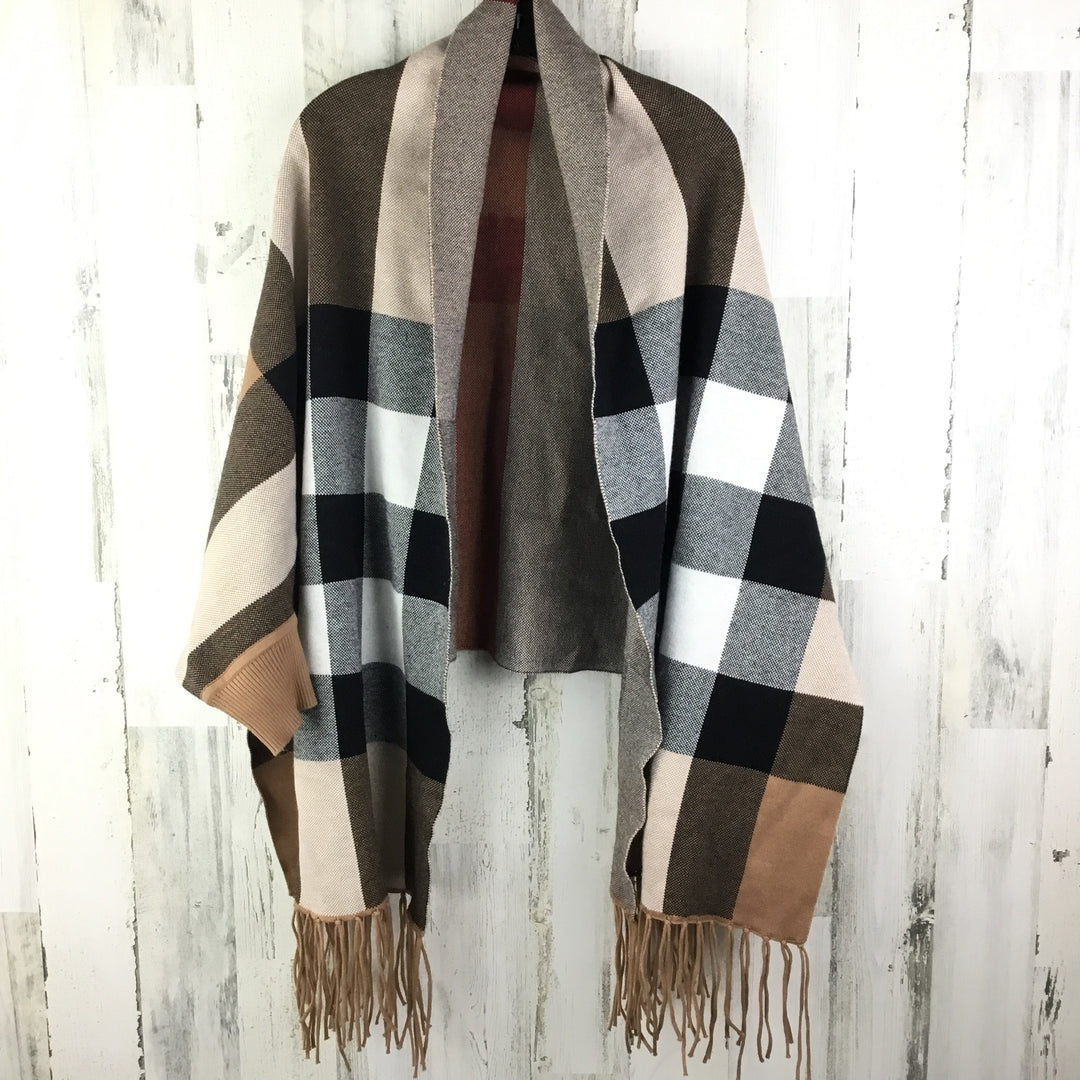 Primary Photo - BRAND:    CLOTHES MENTOR <BR>STYLE: SHAWL <BR>COLOR: TAN <BR>SIZE: ONESIZE <BR>OTHER INFO: PLAID W/ CUFFS AND FRINGE <BR>SKU: 258-25871-12179
