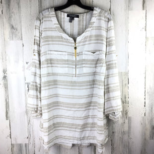 Primary Photo - BRAND: ELLEN TRACY STYLE: TOP LONG SLEEVE COLOR: TAN SIZE: 2X OTHER INFO: STRIPED SKU: 258-25871-12043