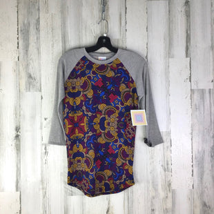 Primary Photo - BRAND: LULAROE STYLE: TOP LONG SLEEVE COLOR: PURPLE SIZE: XXS OTHER INFO: NEW! RANDY GREY SLEEVES YELLOW TAN PINK SKU: 258-25885-25277