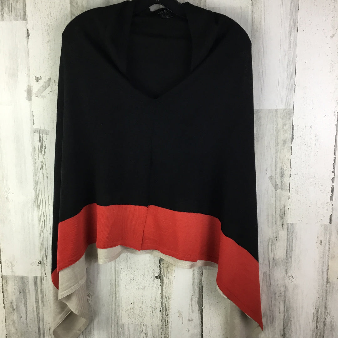 Primary Photo - BRAND: JONES NEW YORK <BR>STYLE: SHAWL <BR>COLOR: BLACK <BR>SIZE: ONESIZE <BR>OTHER INFO: RED/TAN BOTTOM <BR>SKU: 258-25877-16034