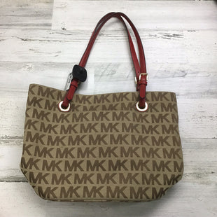 Primary Photo - BRAND: MICHAEL BY MICHAEL KORS STYLE: HANDBAG DESIGNER COLOR: BROWN SIZE: MEDIUM OTHER INFO: RED STRAPS SKU: 258-258121-326