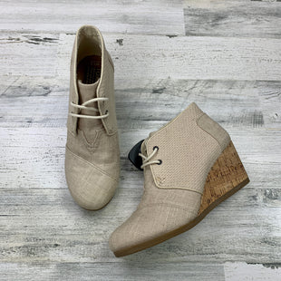 Primary Photo - BRAND: TOMS STYLE: BOOTS ANKLE COLOR: CREAM SIZE: 7.5 OTHER INFO: LINEN LIKE FABRIC WEDGE HEEL SKU: 258-258111-8720
