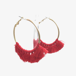 Primary Photo - BRAND:    CLOTHES MENTOR STYLE: EARRINGS COLOR: GOLD OTHER INFO: RED TASSEL SKU: 258-25877-21212
