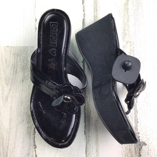 Primary Photo - BRAND: COACH STYLE: SHOES HIGH HEEL COLOR: BLACK SIZE: 7 OTHER INFO: POPPY WEDGE SIGNATURE SKU: 258-25885-31580