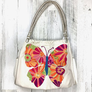 Primary Photo - BRAND: BRIGHTON O STYLE: HANDBAG DESIGNER COLOR: CREAM SIZE: LARGE OTHER INFO: EMBROIDERED BUTTERFLY SKU: 258-25873-35427