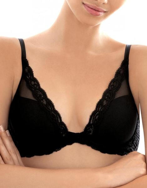Natori Bras - Feathers Plunge 730023 - Black SPECIAL OFFER FREE EXPRESS SHIPPING