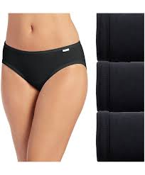 Jockey Panties - Elance Cotton Comfort 3 Pack Bikini 7462 - Black
