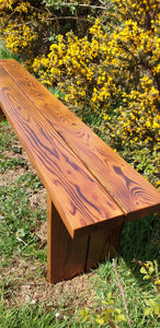 Solid wood bench - carved with inscription. 5 year warranty! Made in UK