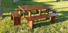Load image into Gallery viewer, Premium dark finish picnic table and benches set, made in the UK. BEST PICNIC SET FOR THE PRICE! 5 Year warranty!