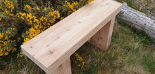 Load image into Gallery viewer, Solid wood 70mm thick carved wooden bench made by Signs of Scotland