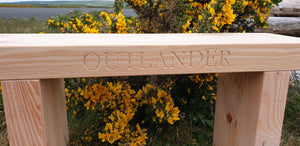 Solid wood 70mm thick carved wooden bench made by Signs of Scotland