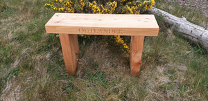 70mm thick solid wood Outlander bench made by Signs of Scotland