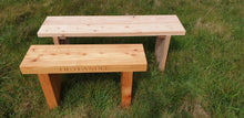 Load image into Gallery viewer, 70mm thick solid wood Outlander bench made by Signs of Scotland, pictured with 40mm thich 1200mm long natural bench.