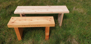 70mm thick solid wood Outlander bench made by Signs of Scotland, pictured with 40mm thich 1200mm long natural bench.