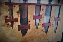 Load image into Gallery viewer, Damacus steel knives with block, 67 layer of Damascus steel, kitchen knives with a wooden block