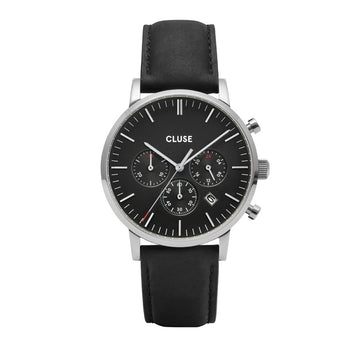 ARAVIS SILVER CHRONO//BLACK LEATHER