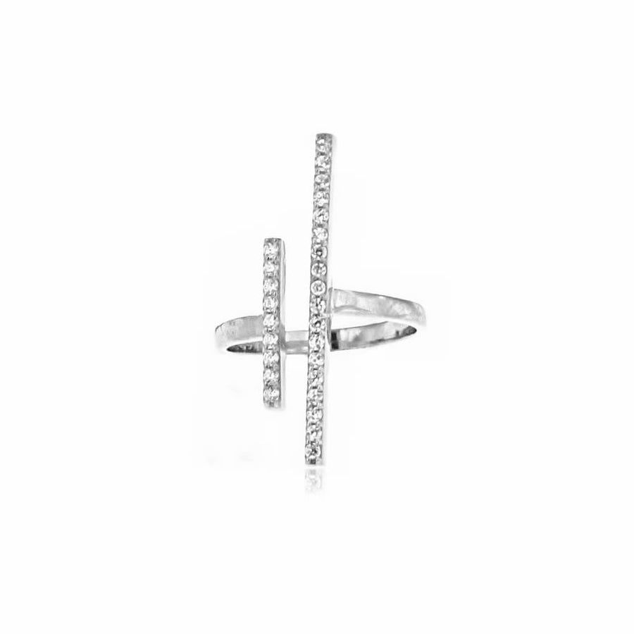 SILVERGIRL ZIRCONIA DOUBLE BAR RING