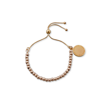 YELLOW GOLD BALL BRACELET WITH VT PLATE