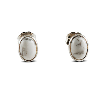 OVAL HOWLITE EARRINGS