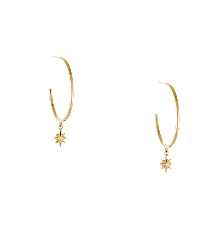 POINTED STAR HOOPS EARRINGS