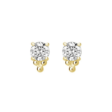 PETITE WHITE TOPAZ AND BALL STUDS