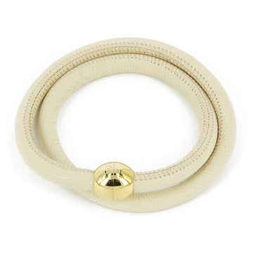 LFV BEIGE DOUBLE WRAP WITH YELLOW GOLD MAGNET CLASP