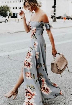 KITTY off shoulder flower satin dress