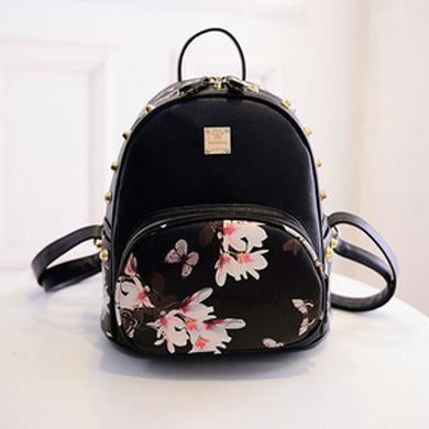 Flower Black Backpacks.