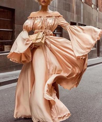 FRIEDA off shoulder satin dress