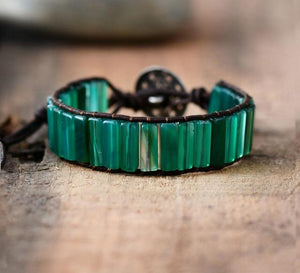 Bracelet With Tube Shaped Green Onyx Stones