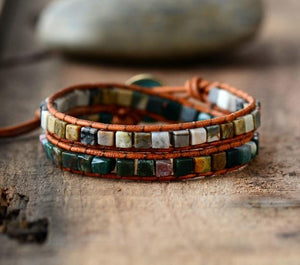 2 Layer Bracelet With Square Shaped Natural Stones