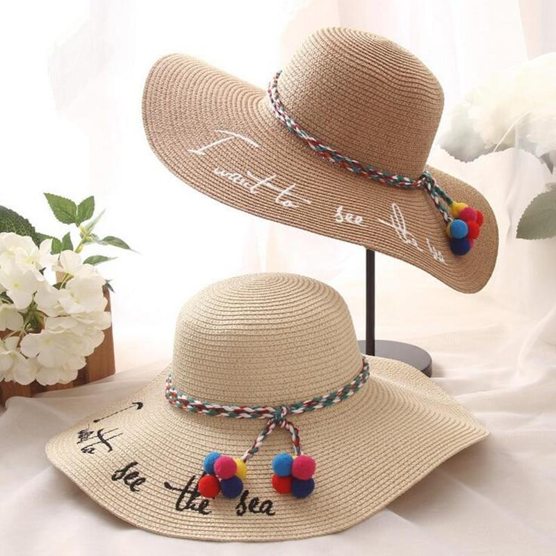 "Straw Beach Hat ""I Want To See The Sea"""