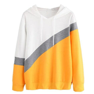 Long SLeeve Hoodie 'White Grey And Yellow'