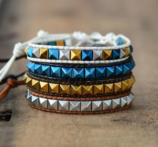 Multilayer Bracelet With Pyramid Spikes