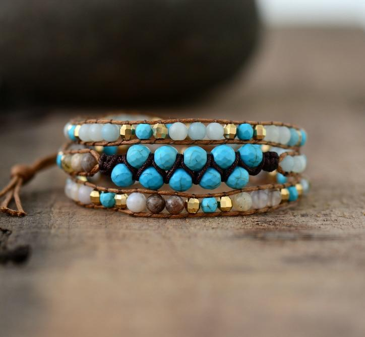 Multilayer Bracelet With Natural Stones