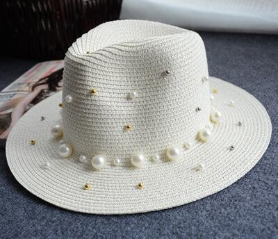 Flat Brimmed Straw Hat With Pearls