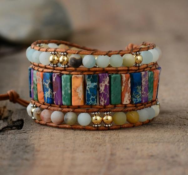 Multi Layer Bracelet With Tube Shaped Natural Stones